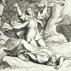 Martín Lutero implora a Dios después de que impacte un rayo sobre su amigo Alexis