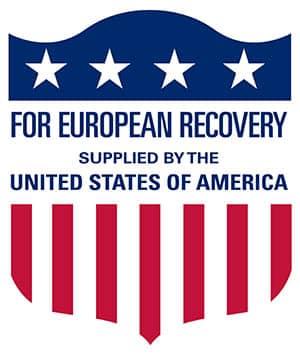 Logo utilizado en el material enviado durante la época en la que estuvo vigente el Plan Marshall.