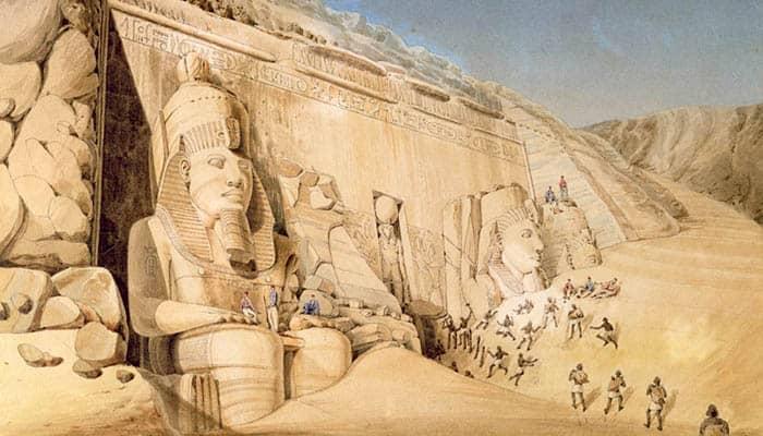 Excavación del gran templo de Ramsés II, Abu Simbel
