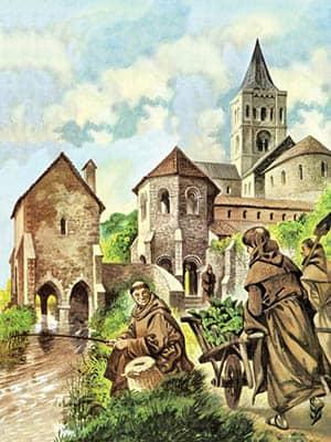 Monjes trabajando en una abadía