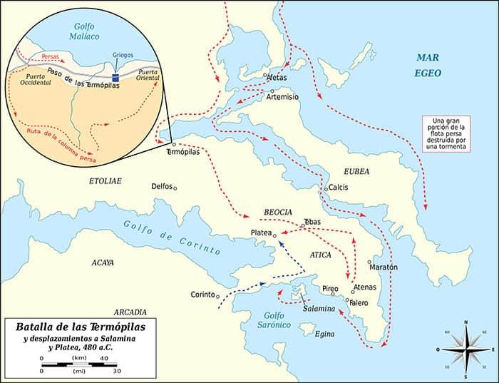 Mapa de la batalla de las Termópilas