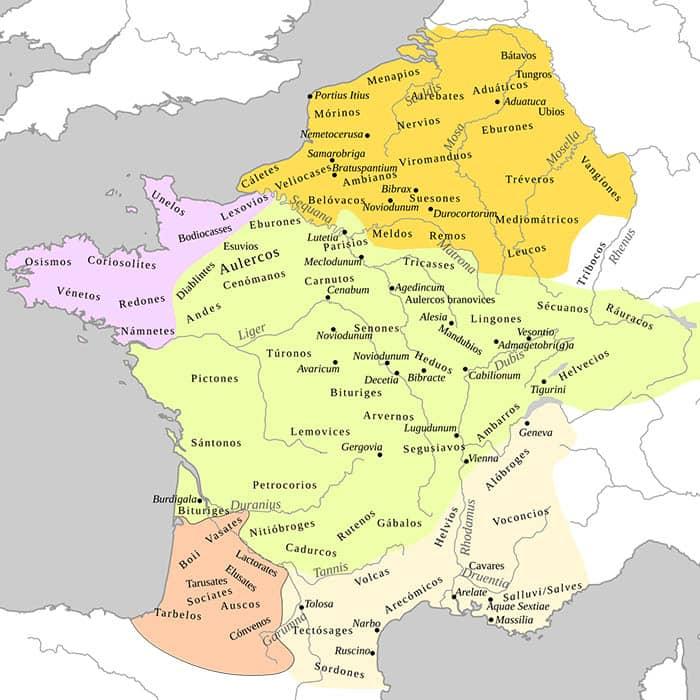 Mapa de los pueblos galos
