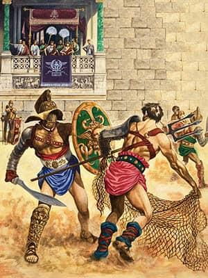 Ilustración de unos gladiadores luchando