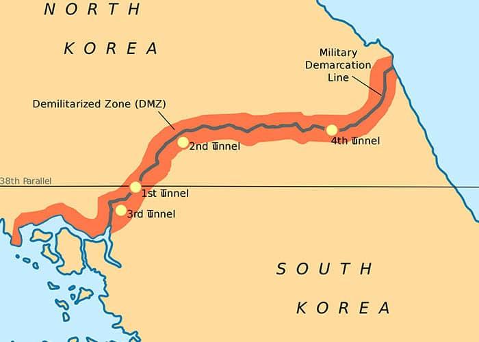 Mapa de la zona desmilitarizada de Corea