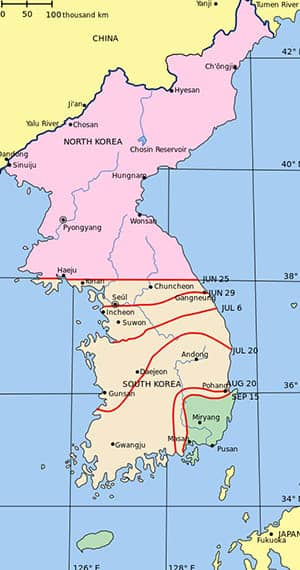 Mapa de la guerra de Corea