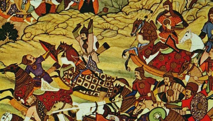 Pintura de una batalla del Imperio mongol de Gengis Kan