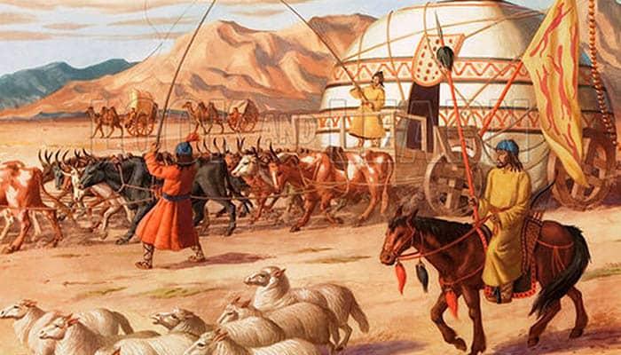 Ilustración de una caravana mongola