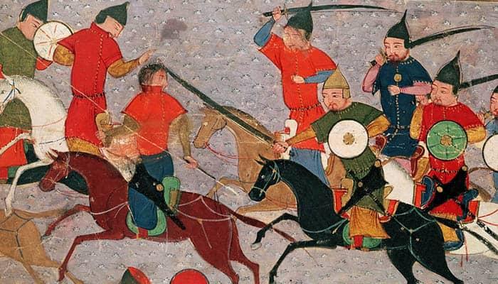 Ilustración de Gengis Kan en una batalla