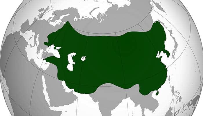 Mapa del Imperio mongol en su máxima extensión