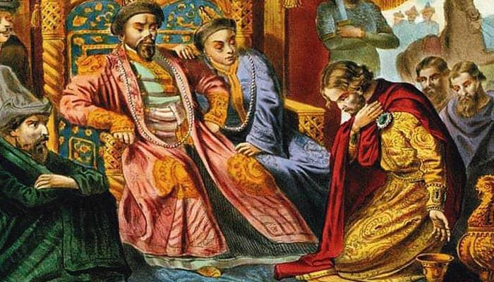 Ilustración del príncipe Alexander Nevsky suplicando a Batu Khan que tenga misericordia con Rusia