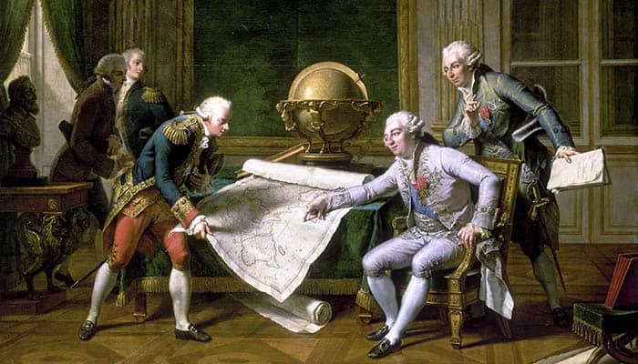 Luis XVI dando instrucciones a Lapérouse el 29 de junio de 1785