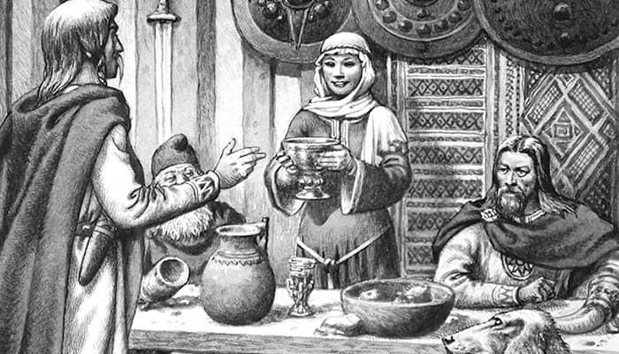 Ilustración de una fiesta sajona